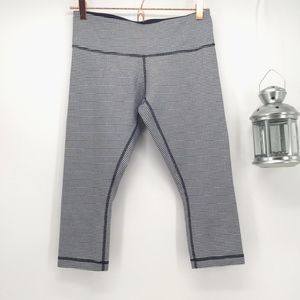 Lululemon Wunder Under Crops in Blue Gingham